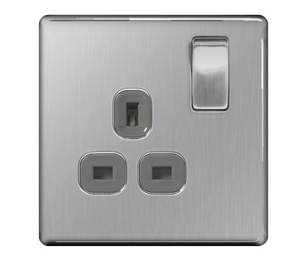 BG Electrical Brushed Chrome Single Socket