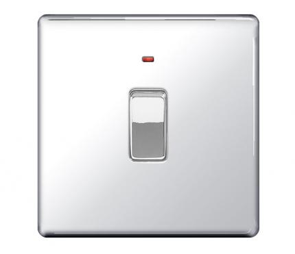 BG Electrical Polished Chrome 20A DP Switch