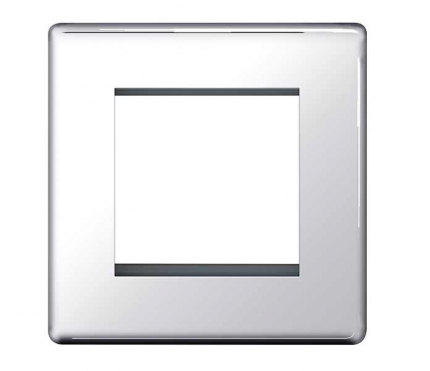 BG Electrical Polished Chrome Euro Double Module Single Plate
