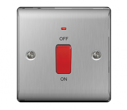 BG Electrical Brushed Chrome 45A Switch Single Plate