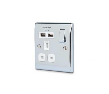 BG Electrical Polished Chrome Single Socket with USB