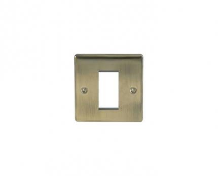 BG Electrical Antique Brass Euro Single Module Single Plate