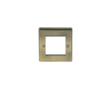 BG Electrical Antique Brass Euro Double Module Single Plate